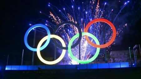 olympic rings fireworks